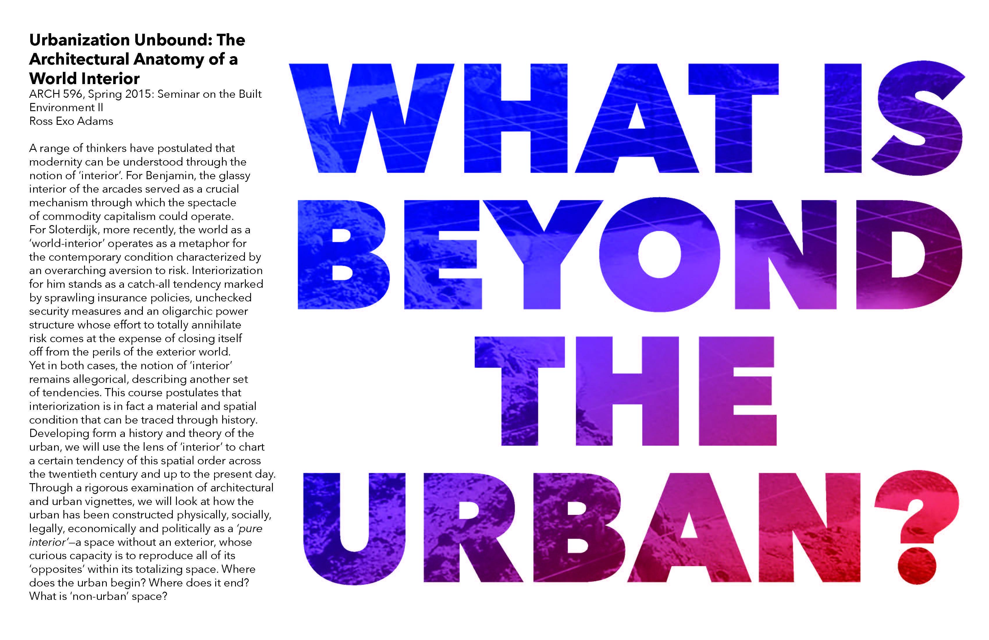 Urbanization Unbound: The architectural anatomy of a world interior ...