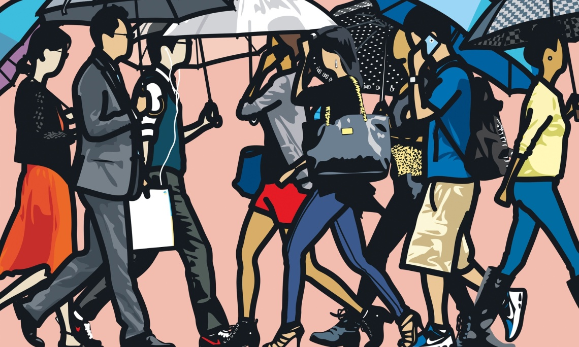Julian Opie, Walking in the rain, Seoul. 2015